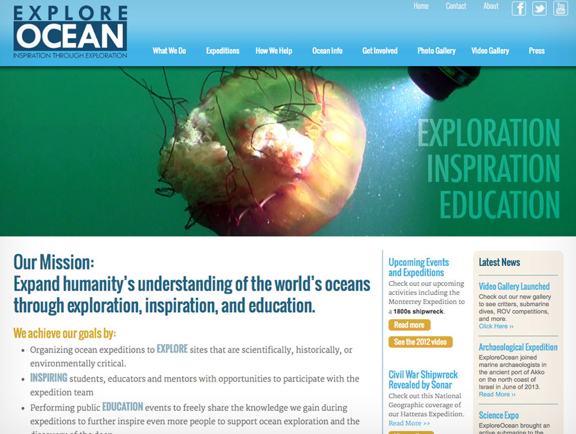 ExploreOcean website home page